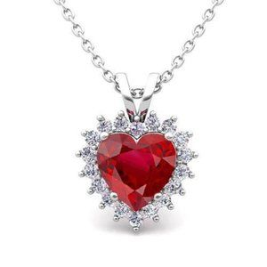 Jewelry - White Gold 14K Heart & Round Shaped Ruby With 5.50